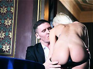snatch thrashing roulette with ultra-kinky blonde stunner Chloe Lacourt