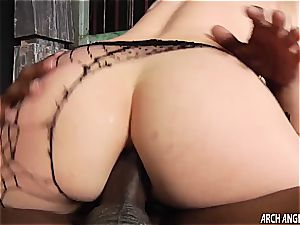 diminutive light-haired plumbed in the rump by ample ebony chisel