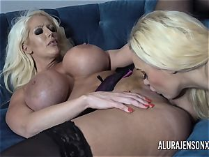 Alura and her chesty girl-on-girl pal Dolly get mischievous