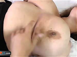 AgedLove ultra-cute old brown-haired is liking stud