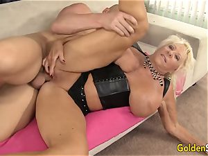 Floppy boobed grandmother plumbs a hairless stud