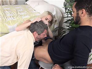 Cadence Lux Makes puss husband licks fellows jism