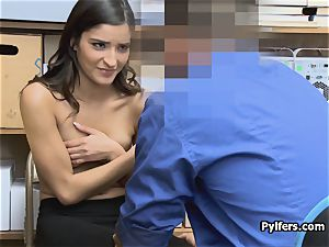 nubile stretches broad for mall securitys bone