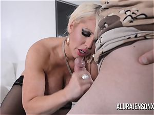big-titted platinum-blonde Alura Jenson enjoys a man in uniform
