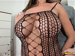 phat boobied sensuous Jane humps in fishnet