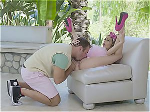 nice female strokes a randy man
