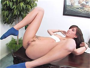 slutty dark haired April ONeil getting her muff cracked by a monster hard-on