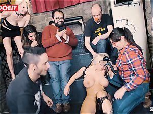 buxomy towheaded gets hardcore pulverizing in bondage soiree