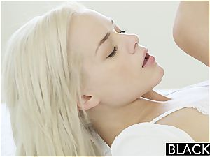Elsa Jean can slightly fit his ebony meatpipe inwards her