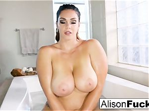 busty Alison Tyler takes a tub and paws herself down