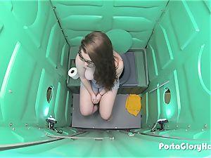 Porta Gloryhole teenage gulping jizz in public