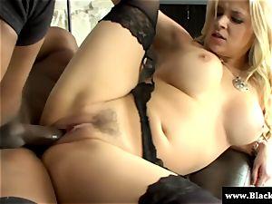 towheaded busty Sarah Vandella likes big black cock in this HD movie