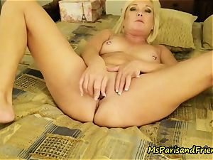 Ms Paris in anal invasion toy ejaculations with Triple intrusion