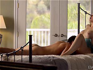 Sarah Vandella lays back and loves her mans stiffy