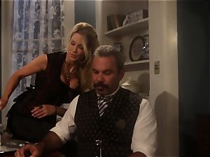 Jessica Drake smashes the sheriff throughout the dining table