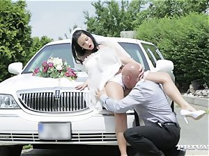 filthy bride takes her chauffeur's man meat before her wedding