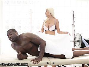 sensual Bridgette handles raging big black cock hard-on for Job!
