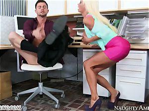 rigorous headmistress Nikita Von James with massive boobs operates its employee