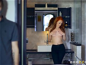 spectacular redhead Ella Hughes pounded by hooded man