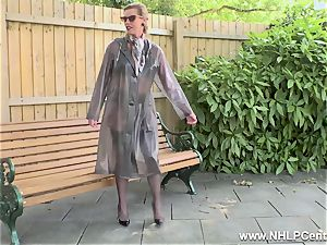 naughty milf strokes in public in nylons garters high-heeled shoes