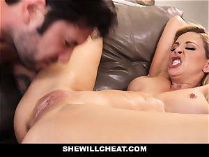 SheWillCheat cheating wifey Gags on salami