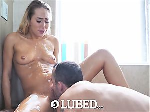 greased douche fuck and facial with Carter Cruise