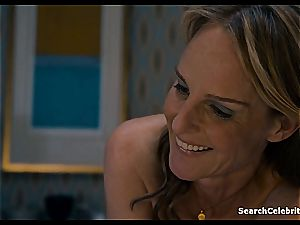 Heavenly Helen Hunt has a smooth-shaven pussy for viewing