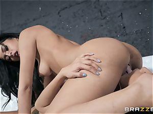 Sophia Leone tonguing out her acquaintance