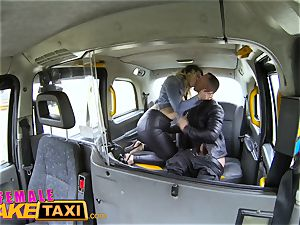 girl faux cab French dude gives gullet drilling