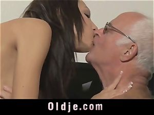 aged chief spoiling the crazy cunt of his Romanian maid