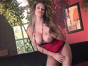 Jenna Presley takes it off leisurely to flash off her large bosoms and smoking bod
